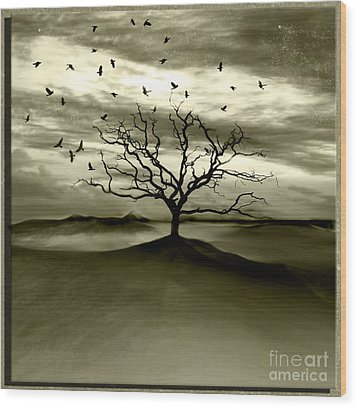 Raven Valley Wood Print by Jacky Gerritsen