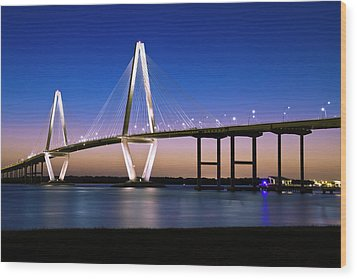 Wood Print featuring the photograph Ravenel Bridge 2 by Bill Barber