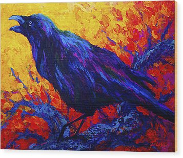 Raven's Echo Wood Print by Marion Rose