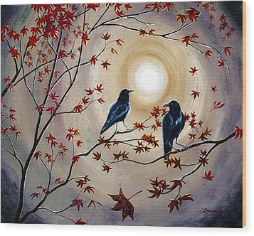 Ravens In Autumn Wood Print by Laura Iverson