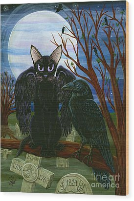 Raven's Moon Black Cat Crow Wood Print by Carrie Hawks