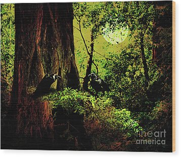 Ravens Of The Full Moon Night . 7d5443 Wood Print by Wingsdomain Art and Photography