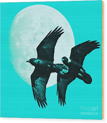 Ravens Of The Moon . Cyan Square Wood Print by Wingsdomain Art and Photography