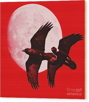 Ravens Of The Moon . Red Square Wood Print by Wingsdomain Art and Photography
