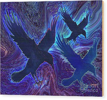 Wood Print featuring the painting Ravens On Blue by Teresa Ascone