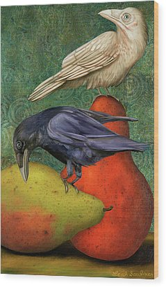 Ravens On Pears Wood Print by Leah Saulnier The Painting Maniac
