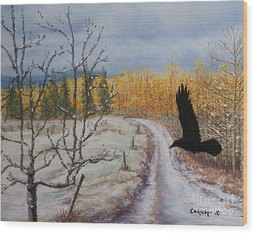 Wood Print featuring the painting Raven's Thoughts Turned by Stanza Widen