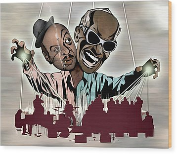 Ray Charles And Count Basie - Reanimated Wood Print by Sam Kirk