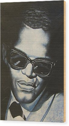ray Charles Wood Print by Darryl Matthews