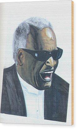 Wood Print featuring the painting Ray Charles by Emmanuel Baliyanga