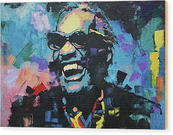Wood Print featuring the painting Ray Charles by Richard Day