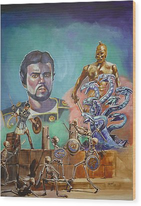 Wood Print featuring the painting Ray Harryhausen Tribute Jason And The Argonauts by Bryan Bustard