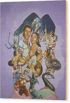 Wood Print featuring the painting Ray Harryhausen Tribute Seventh Voyage Of Sinbad by Bryan Bustard