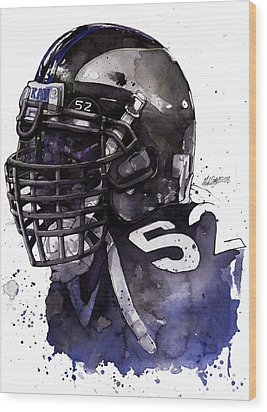 Ray Lewis -  Last Game Wood Print by Michael  Pattison