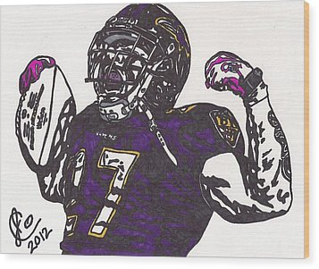 Wood Print featuring the drawing Ray Rice 1 by Jeremiah Colley