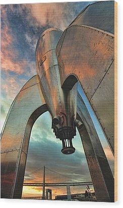 Raygun Gothic Rocketship Blast-off Wood Print by Steve Siri