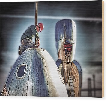 Wood Print featuring the photograph Raygun Gothic Rocketship Safe Landing by Steve Siri