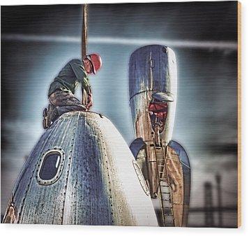 Raygun Gothic Rocketship Safe Landing Wood Print by Steve Siri