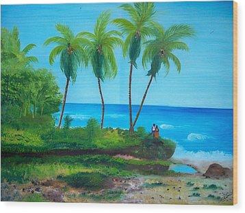 Wood Print featuring the painting Raymond Les Bains Beach Jacmel Haiti  2 by Nicole Jean-Louis