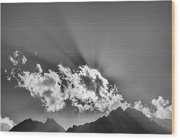 Wood Print featuring the photograph Rays Through Clouds, Keylong, 2005 by Hitendra SINKAR