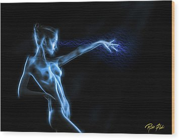 Reaching Figure Darkness Wood Print by Rikk Flohr