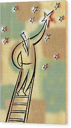 Wood Print featuring the painting Reaching For The Star by Leon Zernitsky