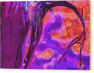 Reaching To Purple Clouds Wood Print