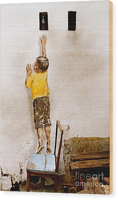 Reaching Up Wood Print by Donald Chen