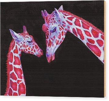 Read And Black Giraffes Wood Print by Jane Schnetlage