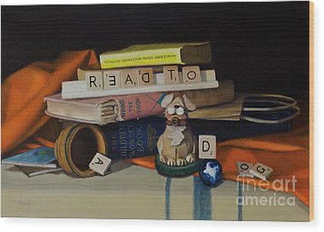 Read To A Dog Wood Print by Margit Sampogna
