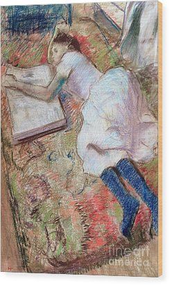 Reader Lying Down Wood Print by Edgar Degas