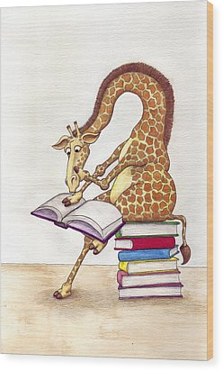 Reading Giraffe Wood Print by Julia Collard