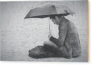 Reading In The Rain - Umbrella Wood Print by Nikolyn McDonald