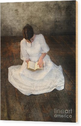 Reading  Wood Print by Jill Battaglia