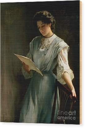 Reading The Letter  Wood Print by Thomas Benjamin Kennington