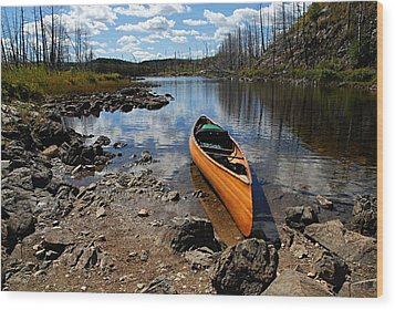 Ready To Paddle Wood Print by Larry Ricker