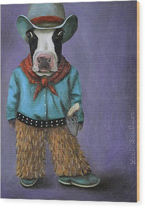 Real Cowboy Wood Print by Leah Saulnier The Painting Maniac