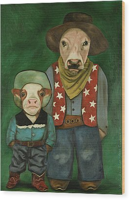 Real Cowboys 3 Wood Print by Leah Saulnier The Painting Maniac