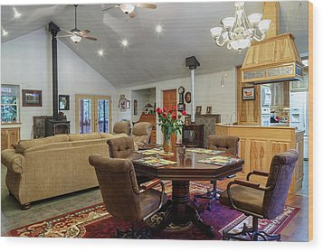Wood Print featuring the photograph Real Estate Dining Room And Living Room by James Eddy