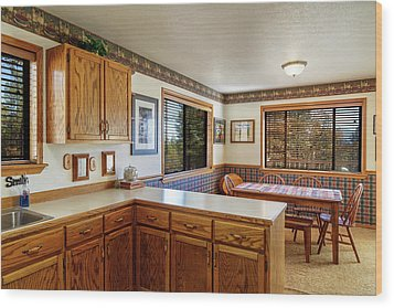 Wood Print featuring the photograph Real Estate Kitchen And Dining Room by James Eddy