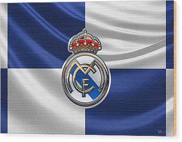 Real Madrid C F - 3 D Badge Over Flag Wood Print