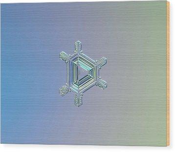 Real Snowflake Photo - Emerald Wood Print by Alexey Kljatov