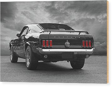 Rear Of The Year - '69 Mustang Wood Print by Gill Billington