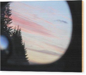Rear View Sunset Sky Wood Print by Pamela Patch