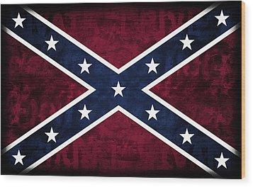 Rebel Flag Wood Print