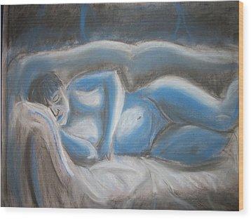 Reclining Blue Wood Print by Adam Davis