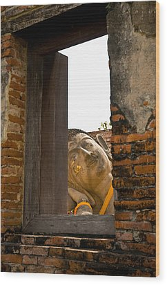 Reclining Buddha View Through A Window Wood Print by Ulrich Schade