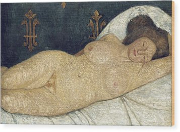 Reclining Female Nude Wood Print by Paula Modersohn-Becker