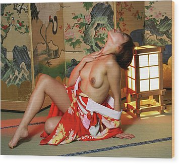 Reclining In Kimono Wood Print by Tim Ernst