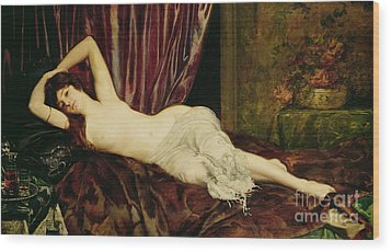 Reclining Nude Wood Print by Henri Fantin Latour